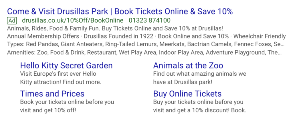 PPC ad copy for theme park and zoo