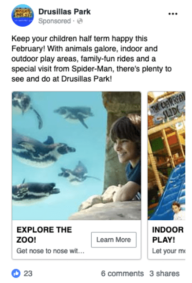 Facebook ad copy of zoo and theme park