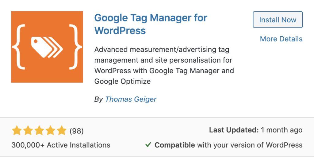 Google Tag Manager For WordPress Plugin By Thomas Geiger