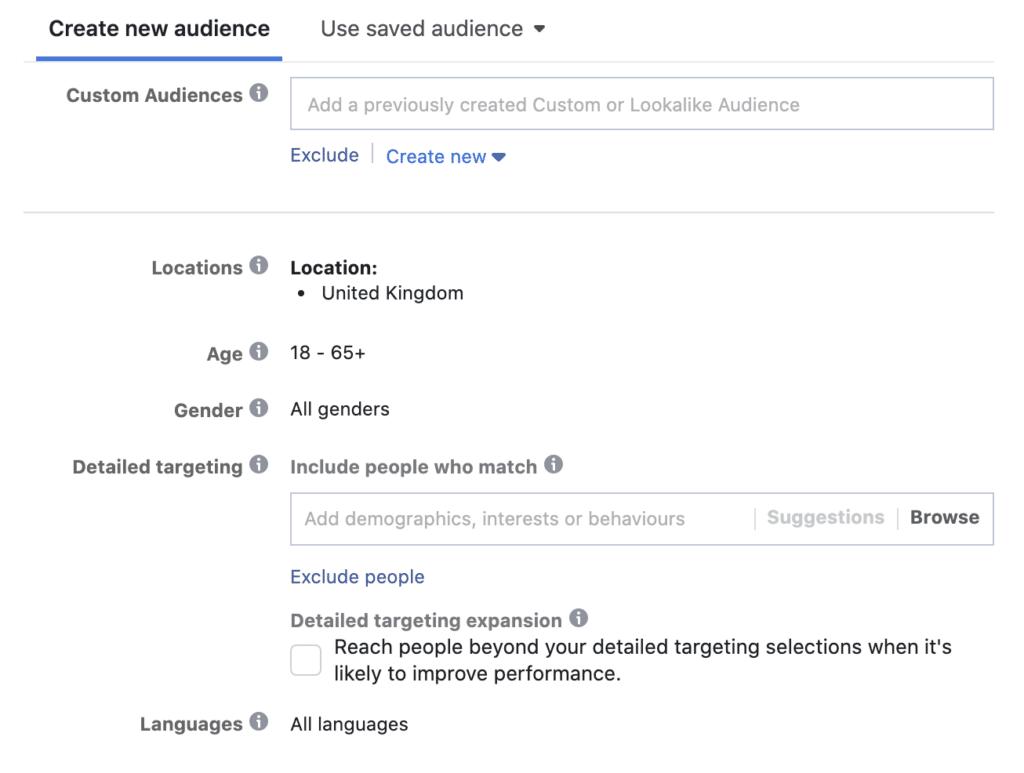 Interest targeting Facebook